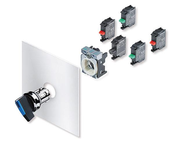 Rys. 5. Przejrzysty rysunek złożeniowy przełącznika z uchwytem oraz bloków styków lub LED