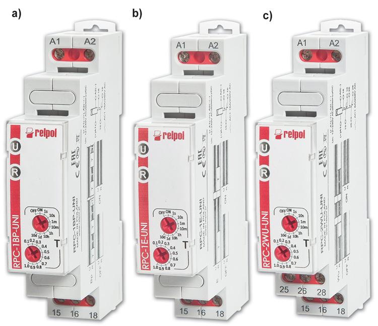 Rys. 1. Nowe, jednofunkcyjne przekaźniki czasowe z oferty firmy Relpol: a – RPC-1BP-UNI, b – RPC-1E-UNI, c – RPC-2WU-UNI