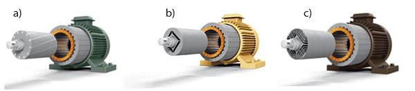Silniki elektryczne: a – indukcyjny klatkowy, b – PM z magnesami trwałymi, c – synchroniczny reluktancyjny