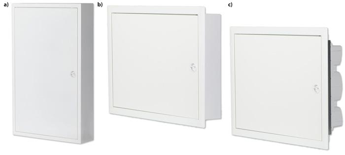 Rys. 2. W ofercie Ideal TS pojawiły się trzy rodziny obudów metalowych: a – natynkowe KDB-I-MS (w I klasie izolacji), b – podtynkowe KDB-I-MF (w I klasie izolacji), c – podtynkowe KDB-II-MF (w II klasie izolacji)