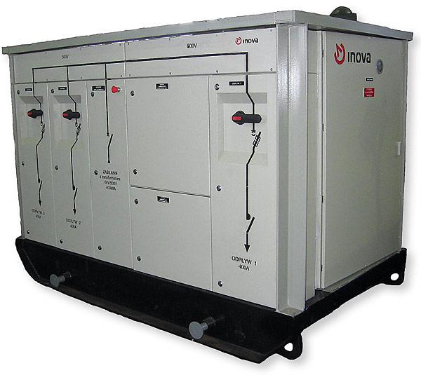 Stacja transformatorowa typu INSp/3 firmy Inova o mocy 400 kVA i 630 kVA do stosowania w wyrobiskach podziemnych zakładów górniczych niezagrożonych wybuchem