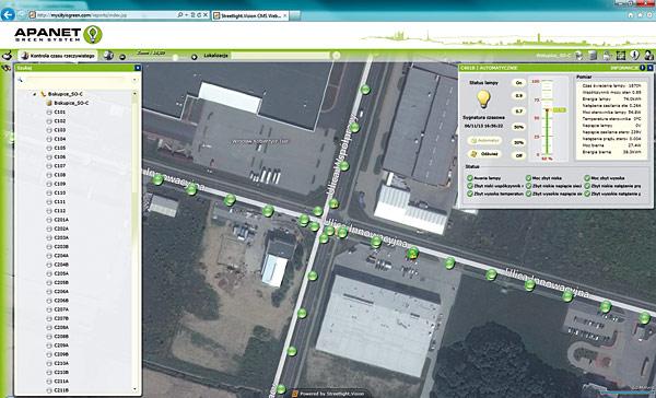 Przykładowy system zarządzania oświetleniem. Inwestycja zrealizowana na skrzyżowaniu ulic Innowacyjnej i Współpracy w Biskupicach Podgórnych