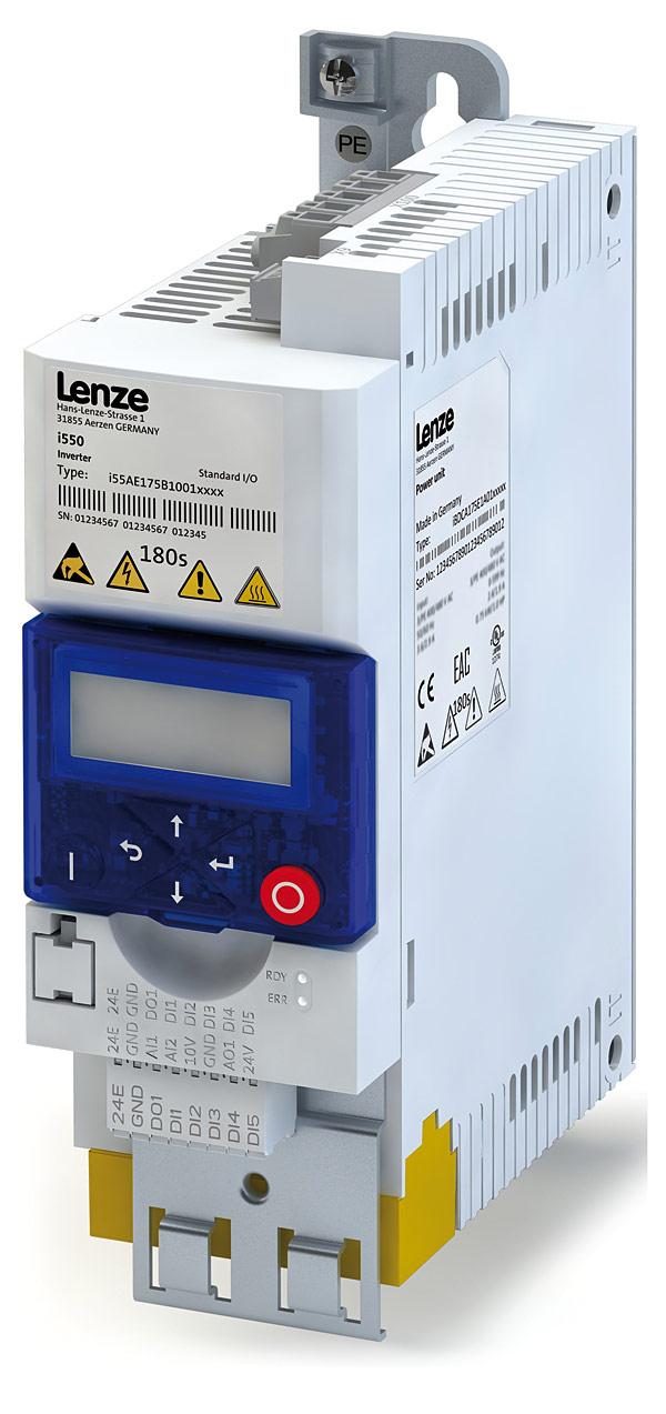 Przemiennik częstotliwości Lenze serii i500 z zewnętrzną klawiaturą i modułem bezpieczeństwa STO SIL3
