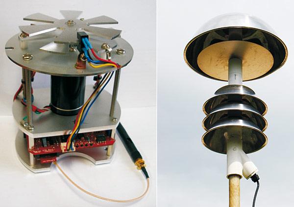 Rys. 3. Czujniki pola elektrycznego: a – EFM [6], b – czujnik bez elementów mechanicznych