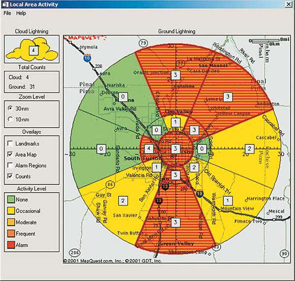 Rys. 5.  Okno oprogramowania  systemu detekcyjnego  z wizualizacją odległości  i azymutu wyładowań (źródło: www.vaisala.com)