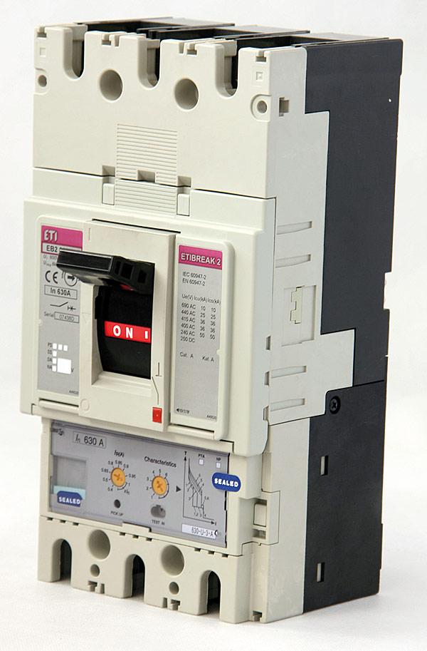 Wyłącznik kompaktowy EB2 firmy ETI Polam dostępne w zakresie od 20 do 630 A