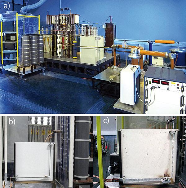 Rys. 3. Badanie elementów urządzenia piorunochronnego: a – widok generatora stosowanego do prób, b – element przed badaniem, c – element po badaniu