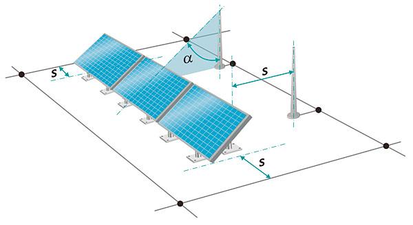 """Rys. 1. Przy rozmieszczaniu modułów fotowoltaicznych należy zachować wymagany odstęp """"S"""" od zewnętrznej ochrony odgromowej"""