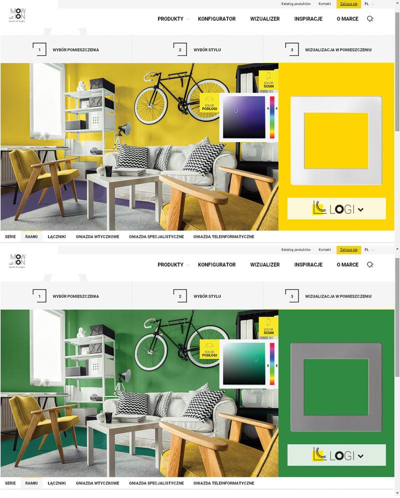 Rys. 5. Przykładowe kolorystyki pomieszczenia w narzędziu Wizualizer