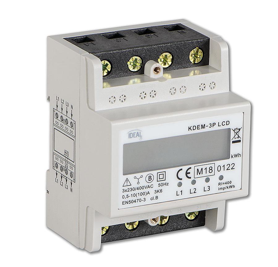 Rys. 1. Licznik zużycia energii elektrycznej KDEM-3P LCD (3-fazowy)
