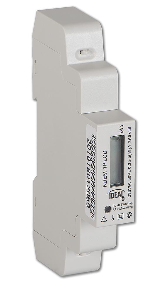 Rys. 4. Licznik zużycia energii elektrycznej KDEM-1P LCD (1-fazowy)