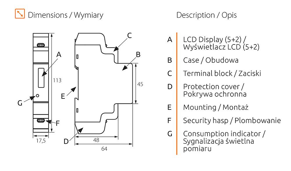 Rys. 5. Wymiary i elementy budowy licznika KDEM-1P LCD