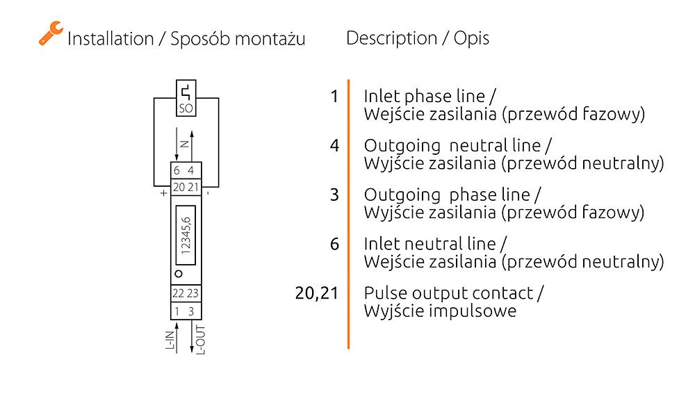 Rys. 6. Sposób montażu licznika KDEM-1P LCD