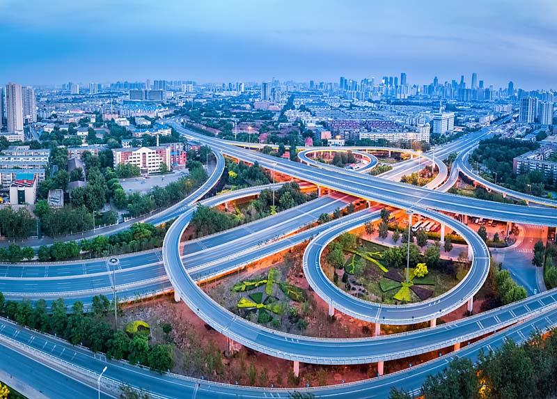 Tianjin, widok z powietrza, skrzyżowanie autostrad