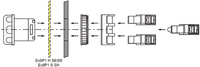 Rys. 4. Warianty oświetlone mogą być wyposażone w jeden lub dwa styki i jedną diodę LED