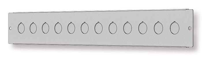 Rys. 9. Płyta frontowa obudowy MF z przygotowanymi wycięciami A 22 mm