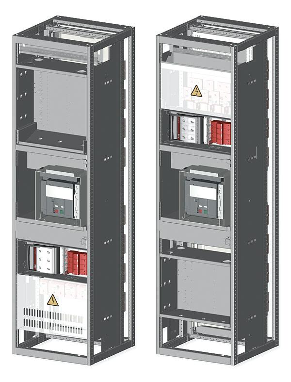 Rys. 5. Struktura wewnętrzna celki z wyłącznikiem. Widoczne dwie nisze aparatowe, sekcja wyłącznika i przyłącza kablowe. Forma wygrodzenia do 4b