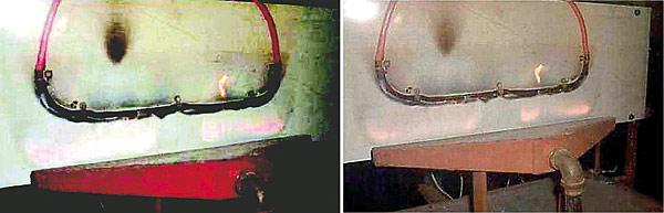 Rys. 2. Mocowanie próbki kabla w kształcie litery U na tablicy z materiałów izolacyjnych (PN-EN 50200)