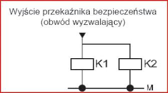 Rys. 7. Prosty schemat podłączenia cewek sterujących styczników wykonawczych układu bezpieczeństwa do wyjścia przekaźnika bezpieczeństwa