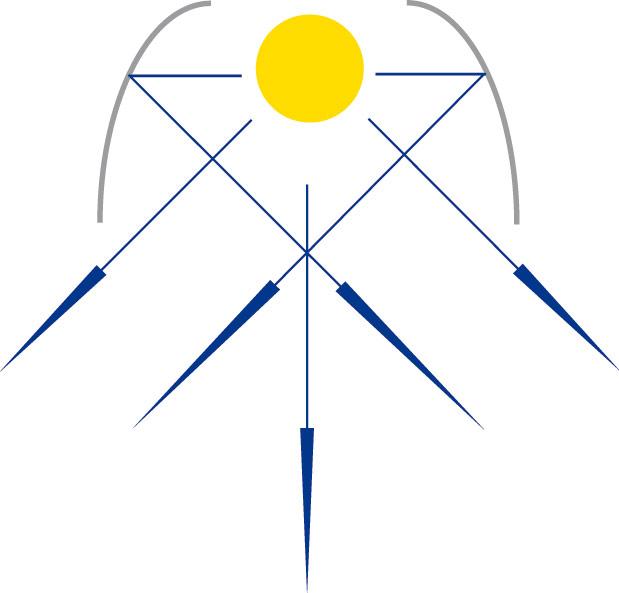 Rys. 2. Rozsył promieniowania świetlnego po odbiciu od odbłyśnika z materiału o właściwościach kierunkowych