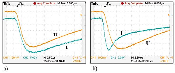 Rys. 4. Przykładowe oscylogramy prądów i napięć udarowych uzyskanych na: uziomie skupionym (a) oraz uziomie rozległym (b)