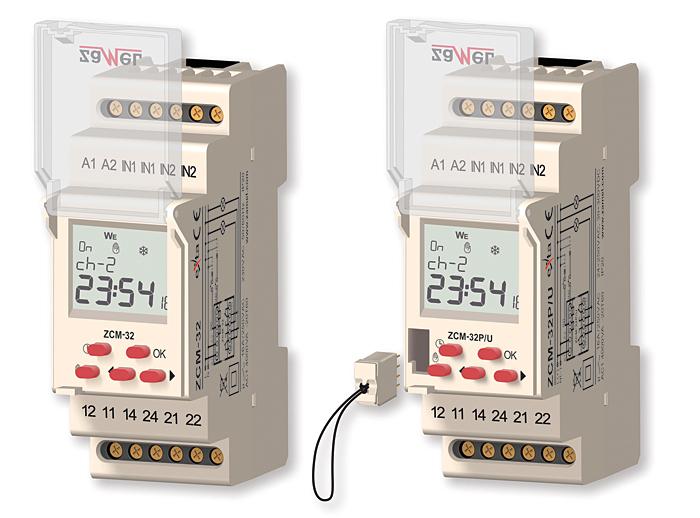 Rys. 5. Programator astronomiczny ZCM-32P (z lewej) oraz ZCM-32P/U posiadający możliwość przenoszenia ustawień za pomocą zewnętrznej kości pamięci
