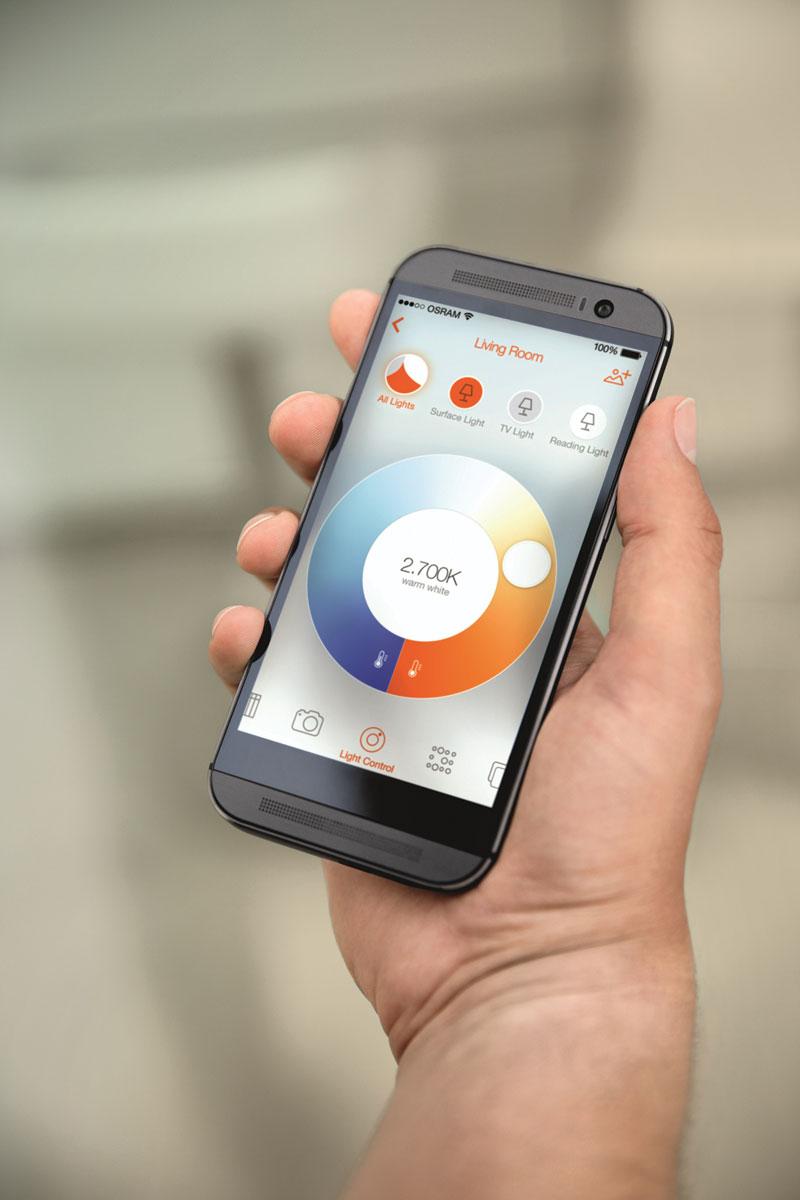 W systemie LED Lightify sterowanie może być realizowane za pomocą aplikacji w smartfonie lub tablecie