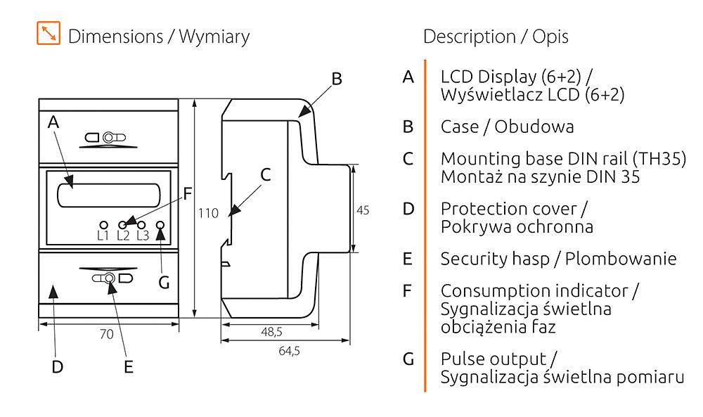 Rys. 2. Wymiary i elementy budowy licznika KDEM-3P LCD