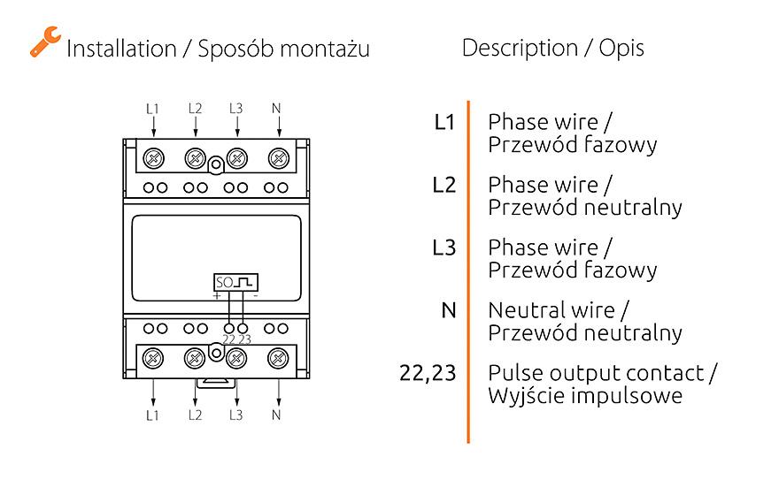 Rys. 3. Sposób montażu licznika KDEM-3P LCD