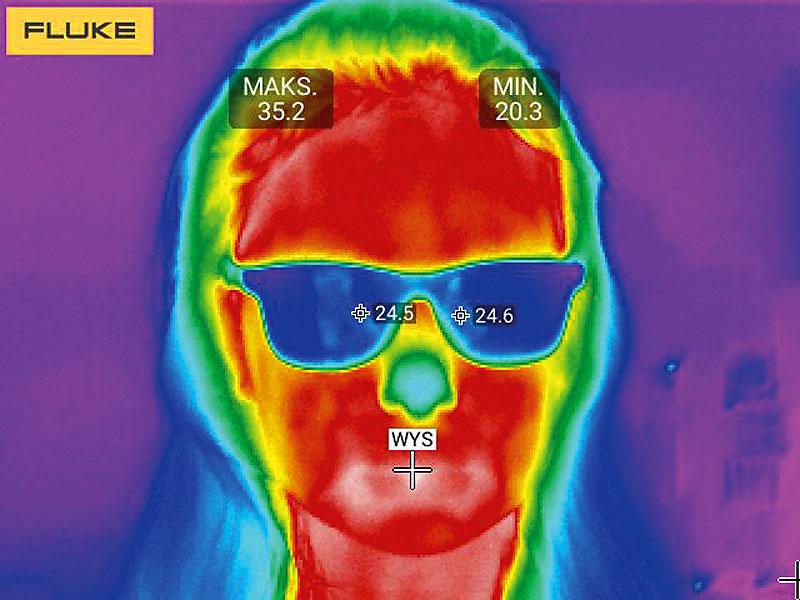 Rys. 3. Zdjęcie wykonane z dalszej odległości (okulary – dodatkowa bariera dla podczerwieni)