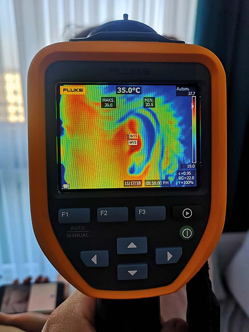 Rys. 5. Pomiar temperatury przy pomocy kamery termowizyjnej (rozdz. 320x240 pikseli) z odległości ok. 50 cm (wartość zmierzona: 36,6oC)