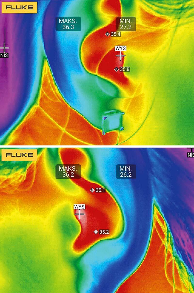 Rys. 6. Pomiar temperatury przy pomocy kamery termowizyjnej (rozdz. 320x240 pikseli) z odległości ok. 50 cm (wartości zmierzone: 36,3oC i 36,2oC).